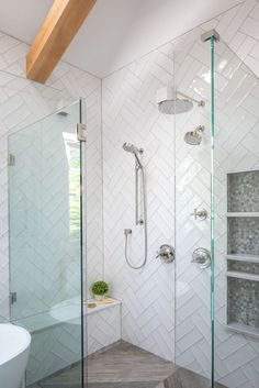diy bathroom remodel 10 ideas for a farmhouse shower to stick on Hunker - New Ideas # tack White Subway Tile Shower, Subway Tile Showers, White Shower, Glass Tile Shower, White Glass Tile, Tile Shower Niche, Shower Floor Tile, Large Tile Shower, Frameless Glass Shower Doors