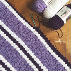 Crochet Purple Stripe C2C Blanket - Repeat Crafter Me