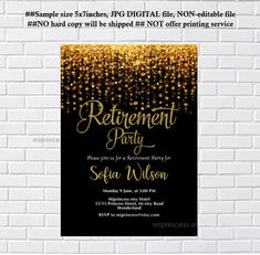 Retirement Party Retiring Farewell Customize X Paper Invitation