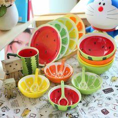 fruteira criativas de cerâmica Conjunto Mesa pratos japoneses e coreanos tigela de arroz de estilo bonito melancia tigela de salada taças de sobremesa                                                                                                                                                                                 Mais