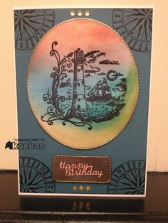 Lighthouse stamp Masculine Cards, Lighthouse, Stamping, Happy Birthday, Ideas, Bell Rock Lighthouse, Happy Brithday, Light House, Stamping Up