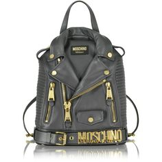 Moschino Dark Gray Nappa Leather Backpack ($2,295) ❤ liked on Polyvore featuring bags, backpacks, zipper bag, rucksack bag, knapsack bag, moschino and day pack backpack