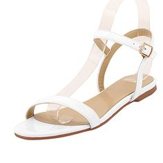 ae2bb2fceb5045 ZriEy women s New Style Flat Sandals Sexy Ankle Strap Buckle Low heel Shoes  Q1 Are