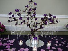 manzanita tree, purple orchids, purple butterflies, and crystal jewels