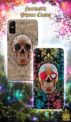 Fiesta and Cream Sugar Skull / extra strong iPhone and Samsung Galaxy cases. $26 For lovers of the dark, goth culture and the Day of the Dead. Roses, Diamond and Ruby eyes to choose from. -- #skull #skullart #sugarskull #phone #case #phonecase #baroque #gothic #steampunk #dayofthedead