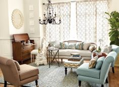 decor, designliv room, spa living room, live space, rug, live room, color scheme, ballard design, curtain