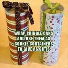 Wrap Pringles Can As Gift Boxes diy christmas christmas crafts life hacks christmas diy chistmas gifts chistmas tutorials Diy Christmas Gifts, Holiday Crafts, Holiday Fun, Christmas Holidays, Christmas Cookies, Christmas Ideas, Christmas Fashion, Christmas Wrapping, Christmas Exchange Ideas