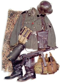 Waffen SS Sturmmann (Corporal), Normandy 1944 01 - M-40 helmet with SS badges 02 - M-43 SS Feldbluse, Sturmmann's insignia on the collar tab...