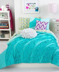 Teen+Vogue+Bedding,+Ella+Teal+Ruffle+Comforter+Sets+-+Bedding+Collections+-+Bed+&+Bath+-+Macy's