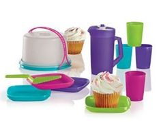 Tupperware Kids Mini Party Set - Cake Holder, Cups, Plates, Pitcher