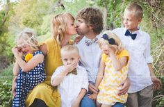 yellow and blue family pictures