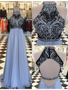 Dust blue and black A-line O-neck chiffon beaded backless special high quality long Floor-length Prom Dresses Gown,cheap formal prom gown BD1705324