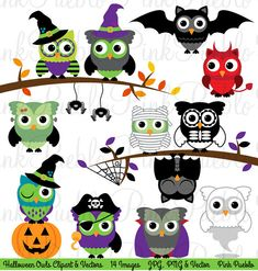 Halloween Owl Clipart Clip Art, Cute Happy Halloween Owl Bird Clipart Clip Art Vectors - Commercial and Personal
