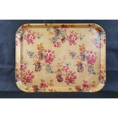 Tray vintage fiberglass decof flowered vintage kitchen serving tray... (€29) ❤ liked on Polyvore featuring home and kitchen & dining
