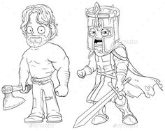 Cartoon medieval warrior knight with axe and sword black and white character vector set for coloring