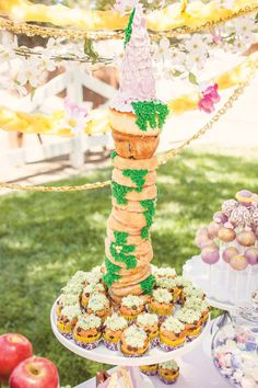 "Whimsical Tangled Inspired Rapunzel Birthday Party What a cute and ""simple"" way to make an edible tower...I love it!!"