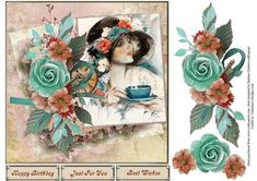 Rose of Time Topper with Decoupage on Craftsuprint designed by Barbara Hiebert - This card topper has a ladies portrait picture, with rose's for the decoupage layers.The sentiment tags say,Happy BirthdayJust For YouBest Wishes - Now available for download!