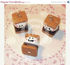 SALE Happy Face Smore Charm Kawaii Polymer Clay by fauxsweet
