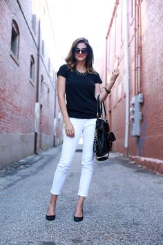 Still looking for the perfect pair of white jeans...yes, even after Labor Day! (What I Wore: Black & White, Jessica Quirk, whatiwore.tumblr.com)