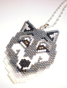Native American Beaded Pendant Necklace: Wolf Medicine
