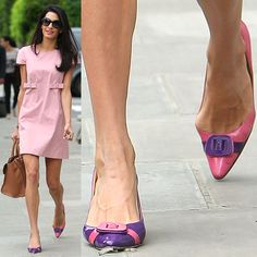 Amal Alamuddin-Clooney with her bunions pushing out the sides of her pink-and-purple pointy-toe pumps as she leaves her apartment in Notting Hill in London, England, on May Amal Clooney, Chrissy Teigen Model, Iman Model, Bunion Surgery, Knee Surgery, Bunion Remedies, Tailors Bunion, Bunion Shoes, Michelle Yeoh