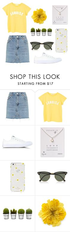 """xx Sunshine xx"" by katherinexsj ❤ liked on Polyvore featuring Topshop, MANGO, Converse, Dogeared, Kate Spade, Ray-Ban, Billabong, Gucci, yellow and Sunshine"
