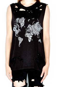 Women's Printed World Map Vintage Muscle Tee in Faded Black by Lauren Moshi. - Made in Los Angles - 70% Tencel 30% Cotton - Dry Clean Recommended Machine Wash Cold Lay Flat to Dry - Our Style Number 2
