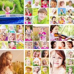 Collage of children outdoor — Stock Image #26604999
