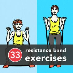 Looking for new ways to use your resistance band? Here are 33 resistance band exercises you can do anywhere. #HealthyLiving #Exercise via@greatist #resistancebands