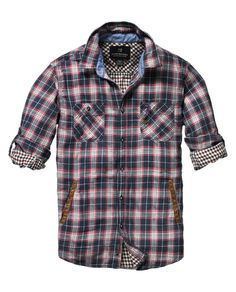 Checkered shirt with leather welt pockets