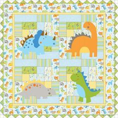 baby dinasaur quilt pattern You could quilt this with MeadowLyon's Dino-Babies pantograph.