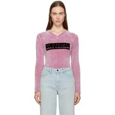 Alexander Wang Pink Cropped Vinyl Meltdown Sweater (795 CAD) ❤ liked on Polyvore featuring tops, sweaters, pink, cropped v neck sweater, pink cropped sweater, pink v neck sweater, pink sweater and v-neck sweater