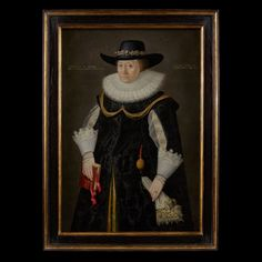 Zoomable Image of Portrait of a Lady wearing a Black Dress and Hat, 1629