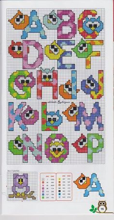 This is cross stitch - but looking at them in terms of a alphabet letter on a quilt. Cross Stitch Alphabet Patterns, Cross Stitch Owl, Embroidery Alphabet, Cross Stitch Letters, Cross Stitch Charts, Cross Stitch Designs, Cross Stitching, Cross Stitch Embroidery, Stitch Patterns