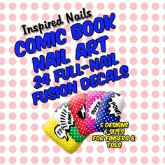 Comic Book Nail Art Decals  Set of 24 in Five by InspiredNails, $9.75