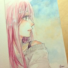 ✮ ANIME ART ✮ anime girl. . .pink hair. . .sweater. . .thoughtful. . .drawing. . .painting. . .watercolor. . .amazing detail. . .cute. . .kawaii