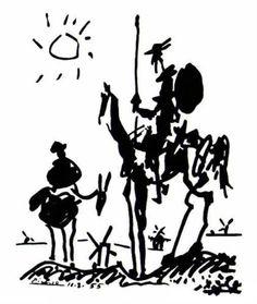 """Don Quixote - Pablo Picasso. """"La libertad es uno de los más preciosos dones que a los hombres dieron los cielos. Por la libertad, así como por la honra, se puede y debe aventurar la vida."""" Don Quijote"""