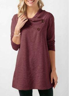 Women Spring Basic T Shirt Button Embellished Long Sleeve Grey Sweatshirt Damen Sweatshirts, Printed Sweatshirts, Fashion Sweatshirts, Looks Plus Size, Mode Hijab, Outerwear Women, Look Cool, Fashion Outfits, Womens Fashion