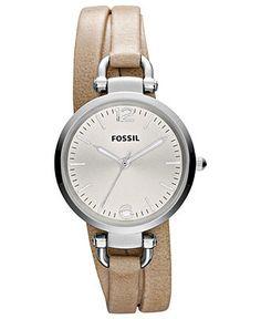 Fossil Watch, Women's Georgia Light Brown Triple Wrap Leather Strap 32mm ES3197 - Fossil - Jewelry & Watche