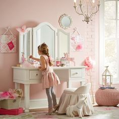 girls bedroom Harriet Bee SkeltinCleveland Memo Board Color: Pink Body Jewelry - The l Big Girl Bedrooms, Little Girl Rooms, Little Girl Vanity, Girls Vanity, Girls Pink Bedroom Ideas, 6 Year Old Girl Bedroom, Childs Bedroom, Shared Bedrooms, Kids Bedroom Furniture