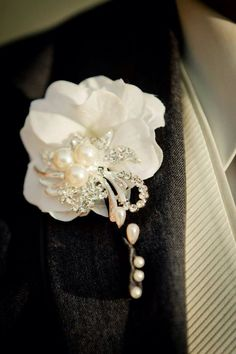 Groom's boutonnière - black white and rhinestone wedding. Flowerless wedding