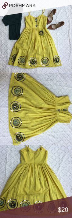 """Anthropology little yellow dress This bright fun colored anthropology dress is absolutely perfect for those nice sunny days. ✨Girls from savoy share Ann Louise Roswald✨ measurements: bust 30"""" waist 26"""" length 35"""". Straps are adjustable. Fun sequined dress, not there are two circles of sequins that have a few missing, seen in picture. Other wise in nice condition ❤ Anthropologie Dresses Mini"""