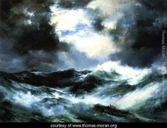 Moonlit Shipwreck at Sea - Thomas Moran - www.thomas-moran.org