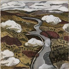 """Margaret Preston - """"Flying over the Shoalhaven River""""; Margaret Preston was an ardent admirer of Aboriginal and Chinese art. This work owes much to these traditions in terms of colour, composition and the map-like view of the landscape. Margaret Rose, Margaret Preston, Australian Painting, Australian Artists, Landscape Art, Landscape Paintings, Landscapes, Nz Art, Social Art"""