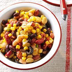 Festive Bean Salad Bean Salad Recipes, Healthy Salad Recipes, Bean Salads, Fruit Salads, Healthy Foods, Vinaigrette, Potluck Salad, Bean Varieties, Kinds Of Beans