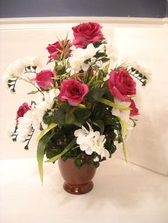 Vintage Roses Silk Flower Arrangement, Elegant