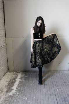 Gorgeous 1940s Black and Gold Swing Skirt by MukkiShop on Etsy, $65.00