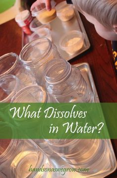 What Dissolves in Water with a Preschool Science Experiment An experiment to find out what dissolves (and what doesn't) - using stuff from the pantry!An experiment to find out what dissolves (and what doesn't) - using stuff from the pantry! Water Experiments For Kids, Science Experiments For Preschoolers, Science For Kids, Science Activities, Science Fun, Science Ideas, Science Table, Physical Science, Activity Ideas