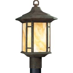 Arts and Crafts Collection Weathered Bronze 1-light Post Lantern