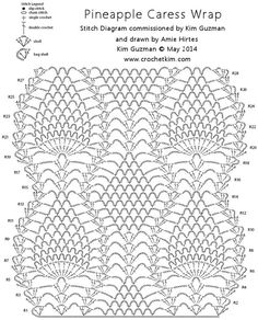 """Add this project to your Ravelry favorites HERE. To print or convert to PDF click the green """"Print Friendly"""" button below the pattern. Pineapple Caress Wrap designed by Kim Guzman © May 2014 Email to kim@crochetkim.com Please read my Terms of Use Technique: Regular"""